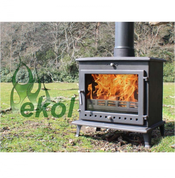 Ekol Crystal 12 woodburning stove 12kw outdoors