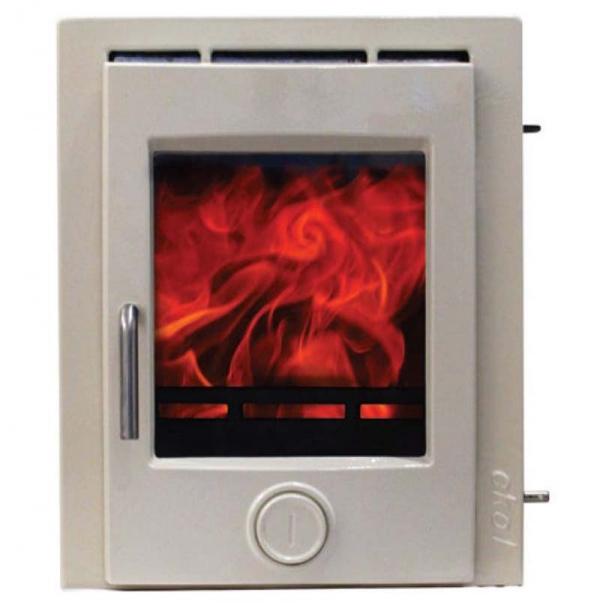 Ekol inset 5 light ivory enamel woodburning stove 5kw