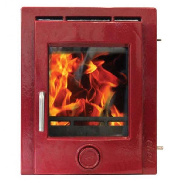 Ekol inset 5 deep red enamel woodburning stove 5kw