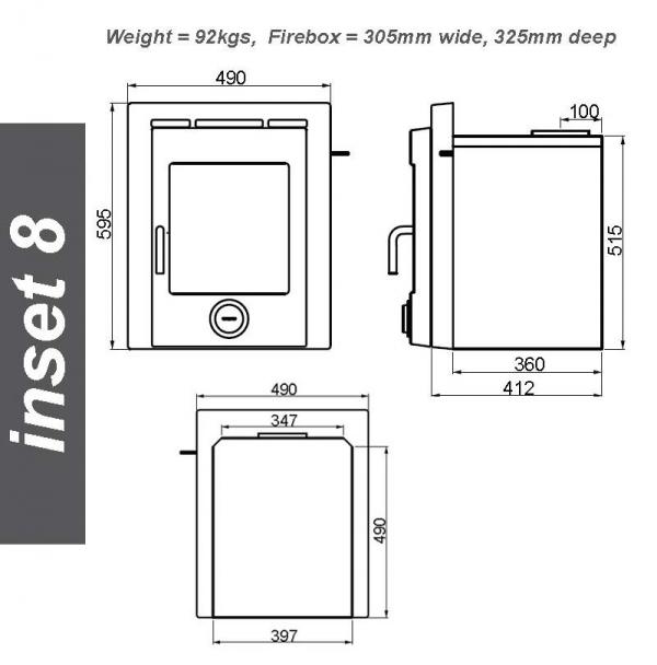 Ekol Inset 8 woodburning stove dimensions