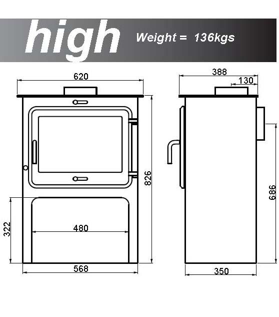 Ekol Clarity 12 woodburning stove high leg dimensions