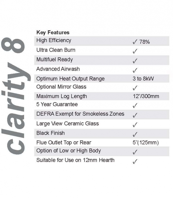ekol clarity 8 low leg woodburning stove statistics and dimensions