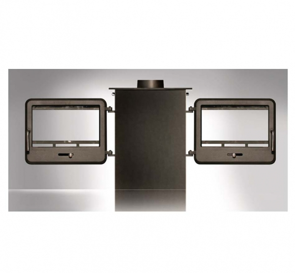 Ekol Clarity double sided woodburning stove with doors open