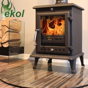 Ekol Crystal 8 woodburning multi fuel stove on glass hearth