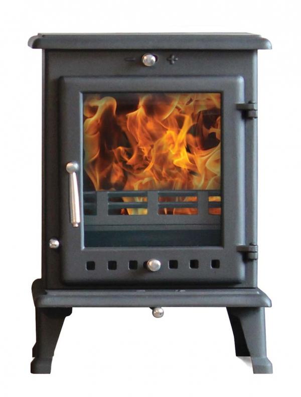 Ekol Crystal 8 woodburning multi fuel stove with white backgorund