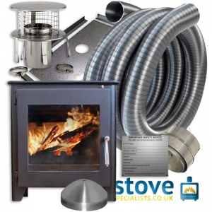 Saltfire ST1 Vision 5kw Wood burning Stove with installation kit