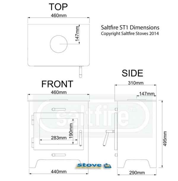 Saltfire ST1 wood burning stove dimensions