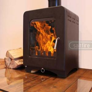 Saltfire ST2 woodburning stove angle left