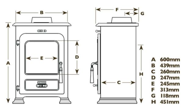 portway 1 traditional stove dimensions
