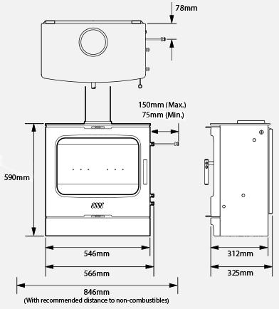 175 B wood burning stove dimensions