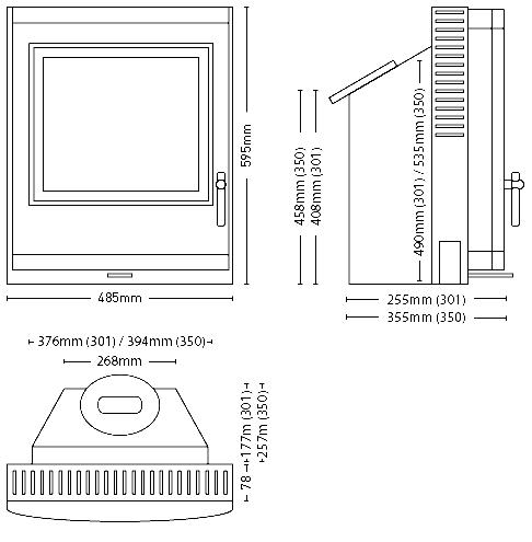 ESSE 350 SE Inset Stoves Dimensions
