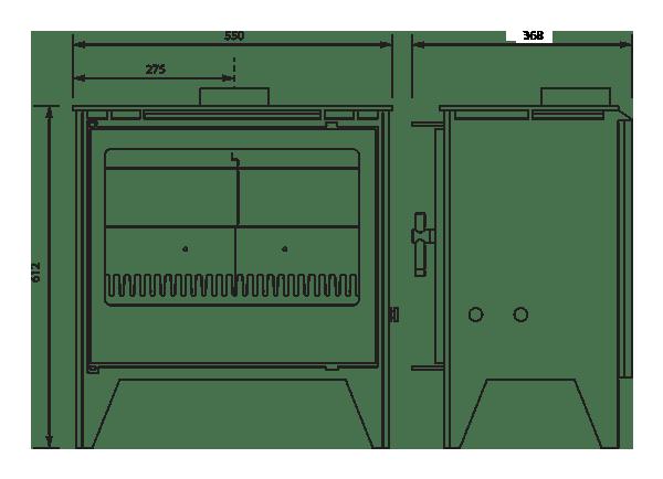 Esse 250se stove dimensions